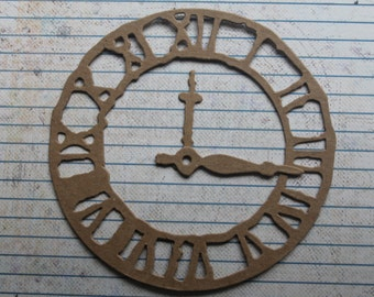 3 Bare chipboard Tim Holtz clock die cuts with hands 4 5/8 inches