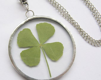 four leaf clover necklace - real four leaf clover - st patricks day -  pressed flower - statement necklace - 4 leaf clover