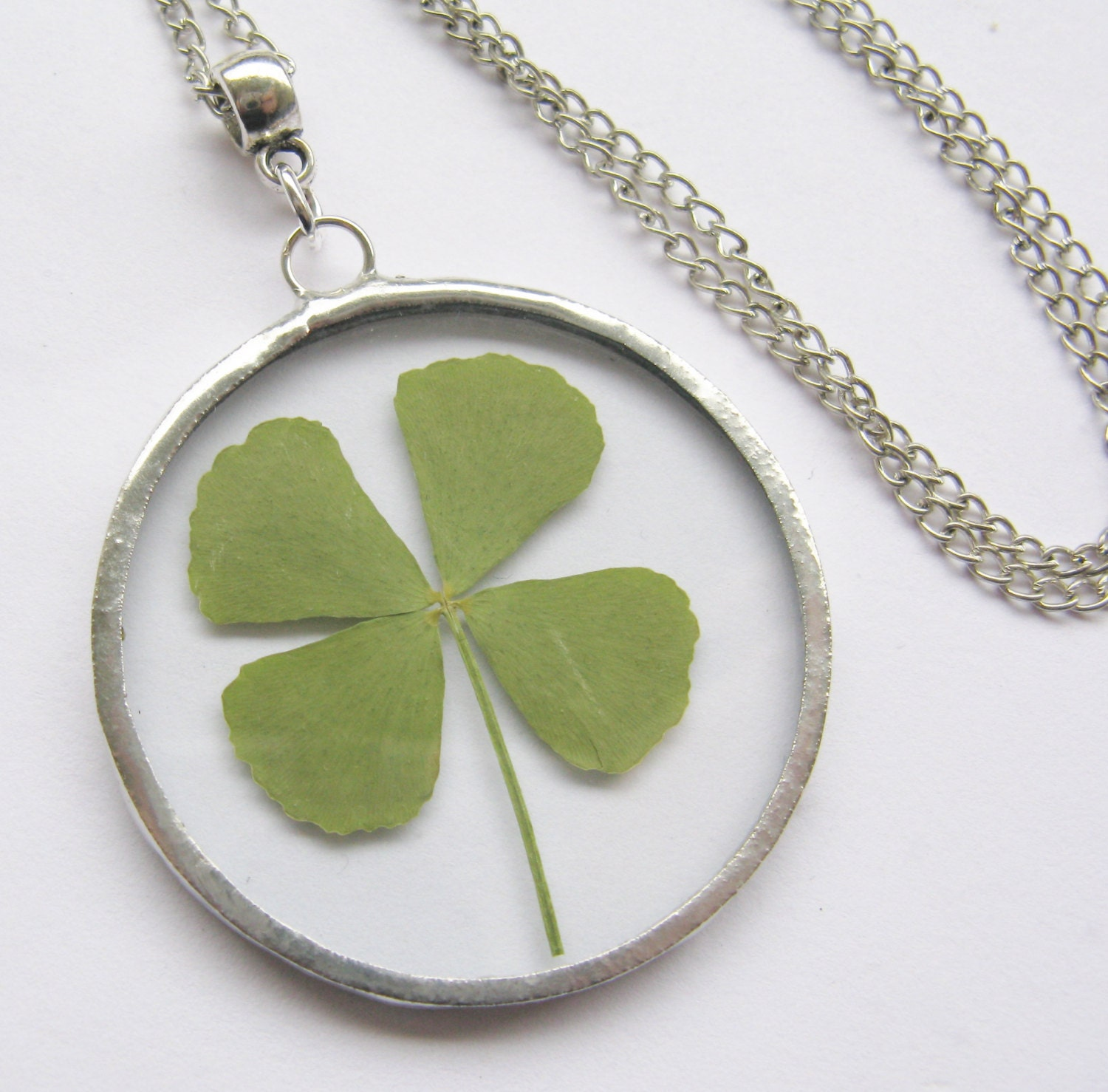 four leaf clover necklace real four leaf clover st by peeno123