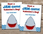 PRINTABLE - Kids Valentine Day Cards - Shark - Fish - 3.5 x 4.5 - Personalized