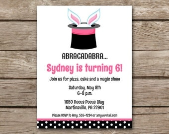 Magic Birthday Invitation, Magic Show Birthday Invitation, Magic Show Party Invitation, Magician Invitation, PRINTABLE