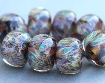 Boro Beads - Lampwork Beads - Metallic Blue, Green and Champagne