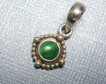 Small Beeded Halo Round Malachite Sterling Silver Pendant