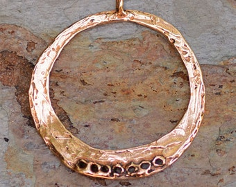Artisan Charm Holder with 7 Holes, Copper Bronze Pendant, 335, Bohemian Style Findings