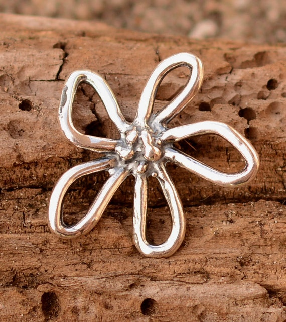 Dotted Loopy FLOWER Link or Charm in Sterling Silver