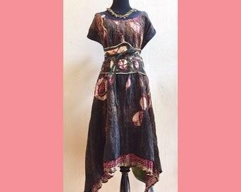 Ancestor Dress #10 - Plus Size Long Full Dress, Organic linen/silk, vintage sari silk, OOAK, fine art womens dress, Dawn Patel Art fiber art