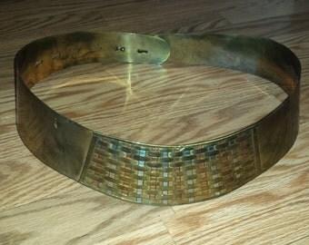 Brass braided adjustable metal belt