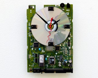 computer clock, Computer DVD Circuitboard Clock, Steampunk clock, geek gift, industrial design clock, PC clock, recycle computer parts clock