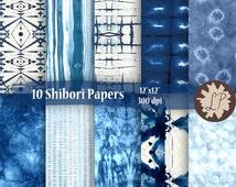 DIY PRINTABLE paper, indigo shibori, 12x12 Blue Digital paper - Commercial Use - scrapbook paper, wedding invitations, etsy banners