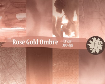 Rose Gold Ombre Digital Papers - watercolor printable paper for mixed media, planner dividers, 12X12 backgrounds, scrapbooking by LIZPLUMMER