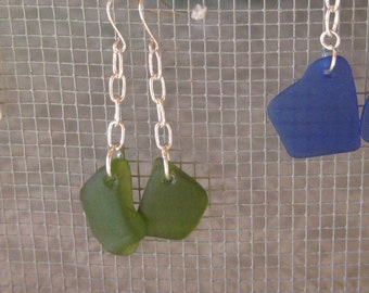 Long Dangle olive green seaglass style earrings, tumbled vintage glass, beachglass inspired earrings