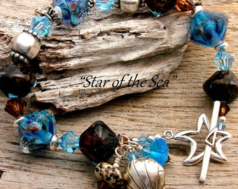 STAR of The SEA - OOAK Handmade Lampwork, Swarovski Crystals and Sterling Silver Bracelet