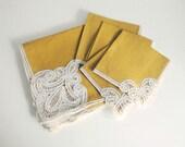 Vintage Linen Battenburg Lace Tablecloth Gold Mustard Handmade Belgian Lace 33x34.5 Napkins Romantic Cottage Chic Dining Table Cloth