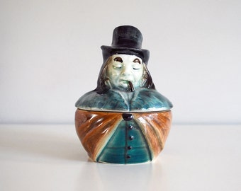 Austrian Tobacco Jar, 1900s Humidor, Antique Smoking Man, Figural Porcelain Storage Dish, Tobacciana, Ceramic Collectible, Man Cave Decor