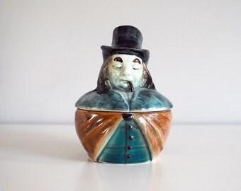 Austrian Tobacco Jar, 1900s Humidor, Antique Smoking Man, Figural Porcelain Storage Dish, Tobacciana, Ceramic Collectible, Man Cave Decor