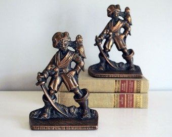 1920s Pirate Bookends, Cast Iron Bookends, Copper Washed Statue, Verona Swashbuckler Parrot, Man Cave Decor, Desk Accessory, Back to School