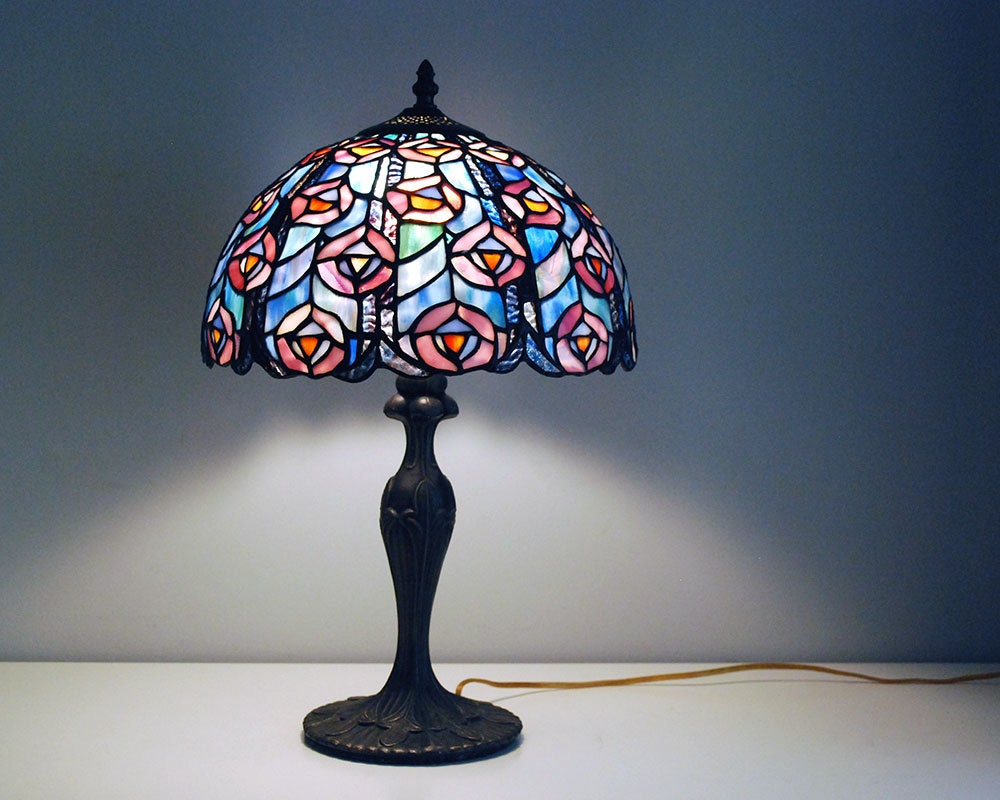 Tiffany Style Lamp Stained Glass Lamp Shade Vintage Peacock