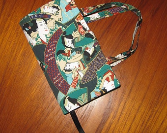 Paperback Book Cover Japanese Asian Fabric Kabuki Design PREMIUM SIZE