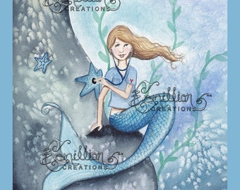 Heartbeat Nurse Mermaid from Original Watercolor Painting by Camille Grimshaw Art