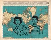 World Lovers-map print, world map, atlas art, map art, love, honeymoon, marriage, wedding gift, wedding, lovers