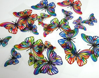 E4 RAINBOW UNCUT Butterfly Pack - 20 per pack - scrapbooking, card making, crafts