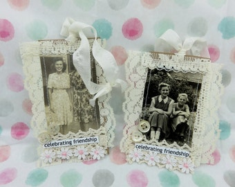 Vintage Photo TAG or Ornament Original old photo FRIENDSHIP Set of 2
