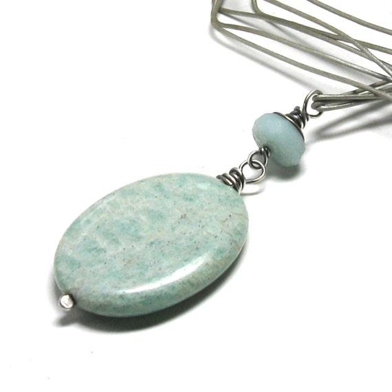 Aqua amazonite pendant necklace, amazonite stone, casual jewelry, statement necklace, oxidized sterling silver, silver gray leather cord