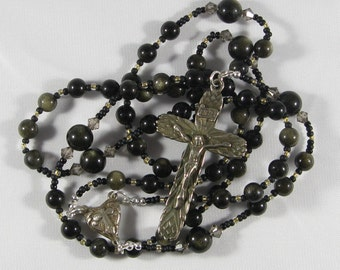 Golden Sheen Obsidian Rosary *FREE SHIPPING*