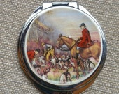 Vintage  Plate English Hunting Horses Compact Mirror