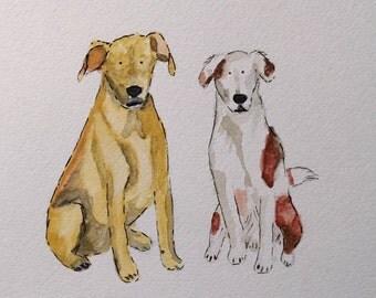 Custom Pet Portrait - 2 pets watercolor 8 X 10