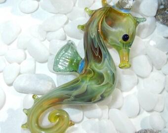 Lampwork Boro Glass Pendant - Focal Bead - SEAHORSE green