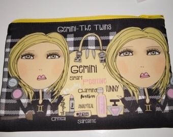 Makeup Bag  6x9 -Gemini the Twins