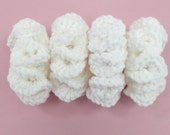 HAIR SCRUNCHIES White Set of 4 | Crochet Acrylic Yarn | Bands Ties Elastics | Girls Kids Adults Twins | Summer Hair Accessories