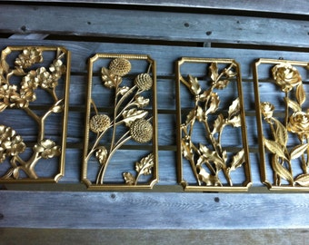 syroco wall plaques flowers 1955 four of them Roses Holly chrysanthemum dogwood wall decor gold so groovy