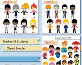 60% OFF SALE People clip art - Teachers and students clipart bundle - MGB147 - commercial use digital images - kids with shapes