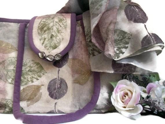 REDUCED , Plum Shoulder Purse and Scarf , Fall Leaves Fabric Bag , Women's Handbag , Shoulder Wrap