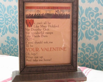 Lost in Love...Fun Vintage 20s-30s Framed Valentine Motto