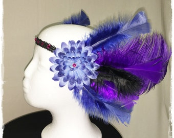 Blue and Purple Feather Head Piece, Ready to Ship - One Size - Hippie Faery Fairy Costume Tribal Festival Flowers Rave Burning Man