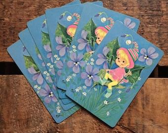 Vintage Kitsch Elf Playing Cards - Set of 6
