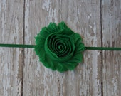 Emerald Green Infant and Toddler Headband Shabby Chic Flower Headband Newborn Baby Girl Headband Christmas Headband Green Baby Headband