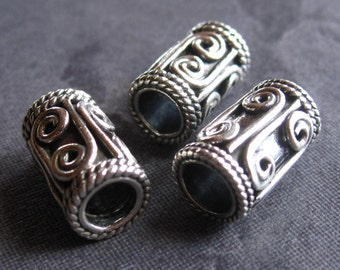 Solid Sterling Silver slider beads - large holed - 12mm X 7mm - hole size is 4mm