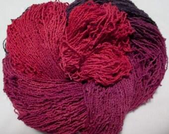 Handpainted Organic Cotton Lace Yarn - TANGO - 430 yds