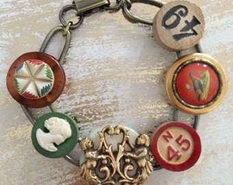 Whimsical Vintage Junk Bracelet - OOAK - upcycled recycled bits and baubles - buttons, bingo game piece, mermaids, cameo - Mini Collage