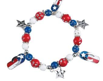 American Flag Flip Flop Bracelet
