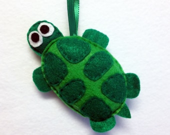 Turtle Ornament, Felt Animal Ornament, Christmas Ornament, Hieronymus the Turtle, Made to Order, Christmas Decoration, Easter, Gift under 20