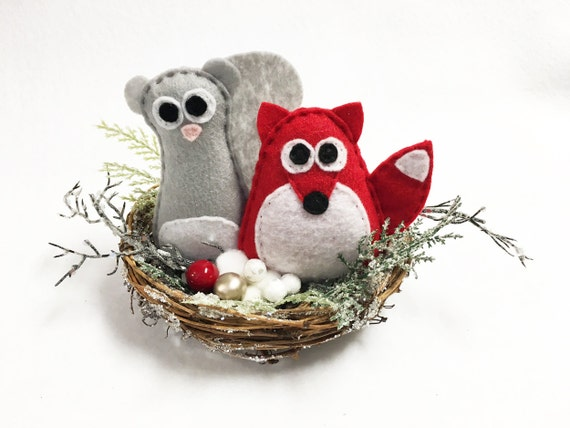 Winter Nest, Christmas Decoration, Squirrel and Fox, Mantle Decoration, Centerpiece, Frosty Branches