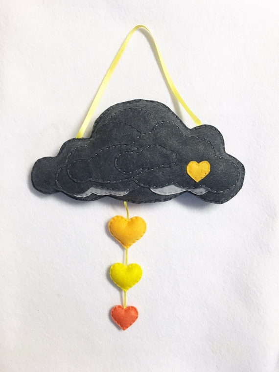 Rain Cloud Scenery, Hanging Mobile - You Make Me Happy - Felt Hearts, Wall Art, Gray and Yellow