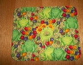 Mouse Pad Green Frogs Tulips Sunflowers Daisys