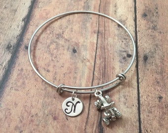 ATV initial bangle - four wheeler bangle, ATV jewelry, quad jewelry, 4 wheeler bracelet, off roading jewelry, silver ATV bracelet