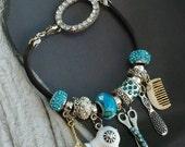 HairStylist Hair Artist Funky Bangle Style Charm Bracelet-Silver-Blue